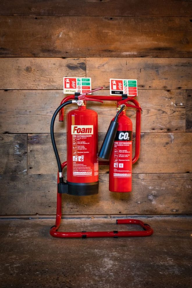 Fire Extinguishers & Tubular Stand, Signs & Clips Combo